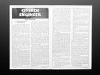 Open zine spread to Citizen Engineer editorial.
