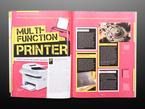 Open magazine spread featuring Multi-function printer.