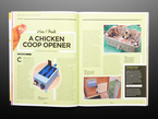 Open magazine spread to a DIY chicken coop opener.