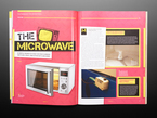 Open magazine spread featuring the microwave.