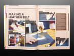 Open magazine spread featuring tutorial on making a leather belt.