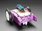Bearing mounted onto pink two wheel robot, angled