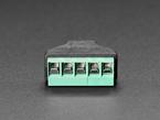 Close-up of terminal blocks on USB Mini B Female Socket to 5-pin Terminal Block.