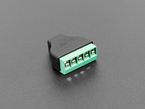 reverse angled shot of USB Mini B Female Socket to 5-pin Terminal Block