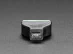 Close-up of MicroUSB socket on USB Micro B Female Socket to 5-pin Terminal Block.