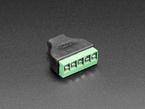 Reverse angled shot of USB Micro B Female Socket to 5-pin Terminal Block.