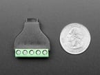 Bottom of USB Micro B Female Socket to 5-pin Terminal Block next to US quarter for scale.