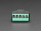Close-up of terminal blocks on USB Mini B Male Plug to 5-pin Terminal Block.
