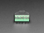 Close-up of terminal blocks on USB Micro B Male Plug to 5-pin Terminal Block.