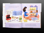 """Illustrated book pages featuring a young white girl in a blue dress and blue hair bow. She sits on her knees playing with a miniature doll house. There is also a construction kit with nuts, bolts, and hand tools. Above is one of Grace Hopper's quotes, """"If you've got a good idea, and you know it's going to work, go ahead and do it."""""""
