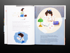 Illustration book pages featuring Young girl working on some problems
