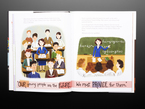 Illustration book pages featuring Young woman teaching a classroom