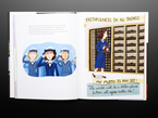 Illustration book pages featuring Young woman building a computer