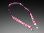 Pink lanyard with Adafruit characters and metal hooks at ends