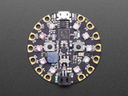 Top down of Circuit Playground with crystals on 10 LEDs