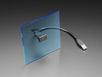 Snap-in panel mount attached to flat blue square