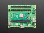 Top down of Raspberry Pi Compute Module 3+ Dev Kit with Compute Module plugged in
