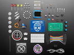 ItsyBitsy M4 + CircuitPython + MakeCode Arcade project kit contents with lots of parts, cables, and stickers
