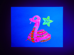 Neon-bright bainting of a friendly coding snake, Blinka the CircuitPython with Adafruit star lotus logo.
