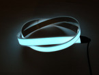 Coil of lit white Electroluminescent Tape Strip