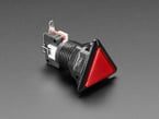 Angled shot of a red triangle  pushbutton.