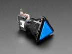 Angled shot of a blue triangle  pushbutton.