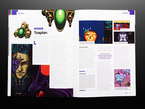 Open magazine spread featuring developer profile on Toaplan.