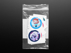 Top shot of cartoon network stickers in a clear zip bag
