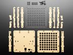 Adafruit 8x8 Trellis Feather M4 Acrylic Enclosure + Hardware Kit showing contents
