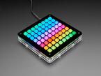 Rainbow buttons on assembled Trellis 8x8 Feather Kit
