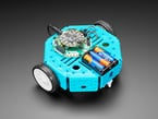 Assembled blue octagon rover robot with wheels, Adafruit Crikit and battery pack.