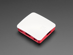 Angled shot of a red-and-white plastic case.