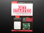 Front cover of get started with raspberry pi official raspberry pi starter kit. Book bundle includes a Raspberry Pi 3 A+ computer, white enclosure, and SD card.