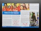 Open magazine spread featuring females in first robotics.