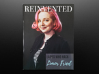 Front cover of Reinvented Magazine - Issue 2: LADIES WHO HACK - Limor Fried. A white woman with chin-length, curled pink hair and a lip ring faces the reader. She wears a black-and-white striped top under a black jacket. Her facial expression reads confident and assured.