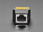 Close-up of Ethernet port on RJ-45 Ethernet Female Socket to Terminal Spring Block Adapter.