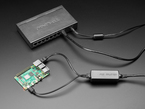 PoE Adapter connected to Raspberry Pi and PoE hub