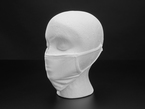 White cloth face mask shown on a mannequin