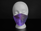 A styrofoam head wearing a black face mask with purple optic fibers.