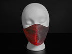 A styrofoam head wearing a black face mask with red optic fibers.