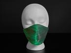 A styrofoam head wearing a black face mask with green optic fibers.