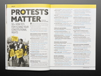 Open magazine spread featuring why protests matter. 50+ how-to's for flexing your constitutional rights.