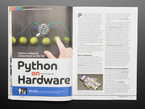 Open magazine spread featuring Python on Hardware. A round dev board with LEDs glowing green is hooked up via alligator clips to six limes in a row.