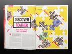 Open magazine spread on discover feather. plug and play for easy electronics.
