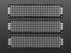 Top view of three Universal Proto-board PCBs 2cm x 8cm