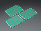 Angled view of three Universal Proto-Board PCBs 5cm x 7cm