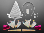 Unicorn Light-Up Unicorn Headband Kit contents with sparkly cardboard cutouts, and electronic parts