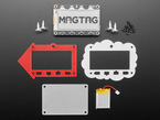 MagTag dev board with enclosure pieces, four magnet feet, and lipoly battery