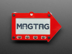 MagTag dev board assembled in an acrylic enclosure in the shape of a red arrow.