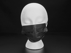 Black surgical style face mask shown on a mannequin